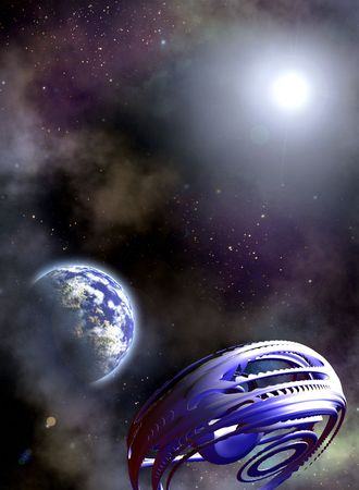 Space scenario. Abstract fantastic Space ship and the Earth in the Space photo