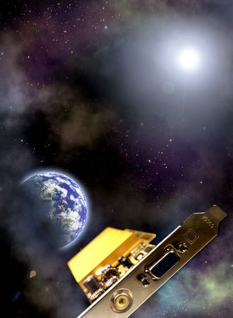 Space scenario. Information technology age Space ship: videocard over the the Earth photo