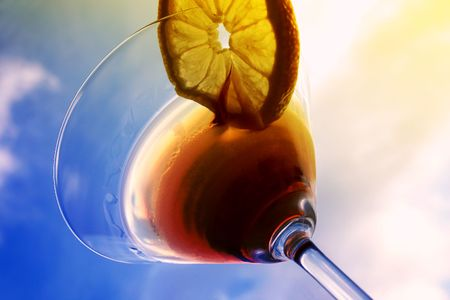 brewage: Martini close-up, glass and lemon, detailed Stock Photo