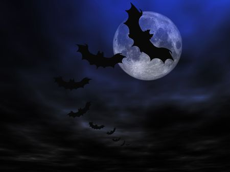 Halloween background, flying bats Stock Photo