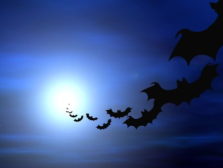 Halloween background, flying bats Stock Photo - 259334