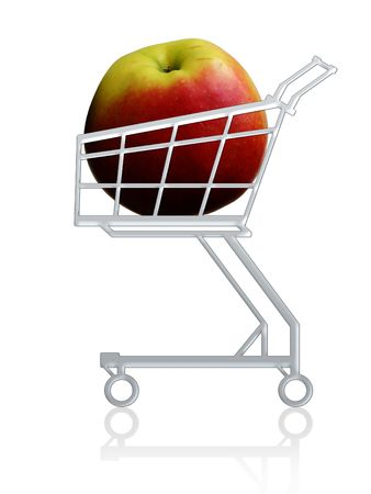 Healthy buy. Apple in a shopping cart. Isolated