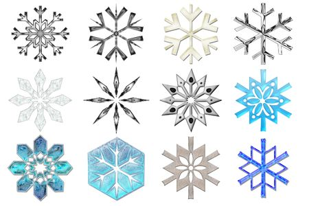 Snowflakes collection #2. Isolated Stock Photo