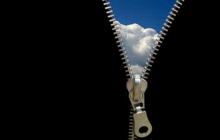 discover: Zipper concept. Discover the sky. Hope and faith