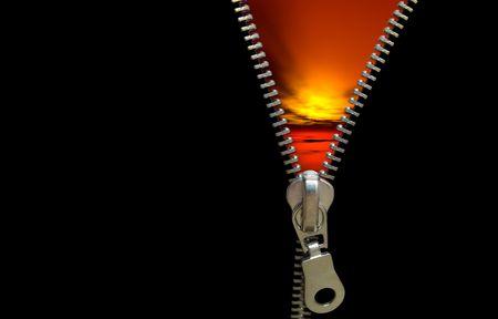 figurative: Zipper concept. Revealing the last daynightsunset Stock Photo