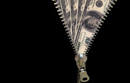 Zipper concept. Discover money, revealing economy Stock Photo