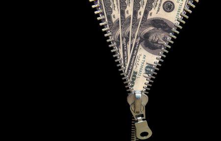 figurative: Zipper concept. Discover money, revealing economy Stock Photo