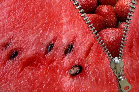 figurative: Zipper concept. Watermelon and strawberries