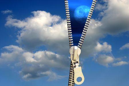 figurative: Zipper concept. Night and day