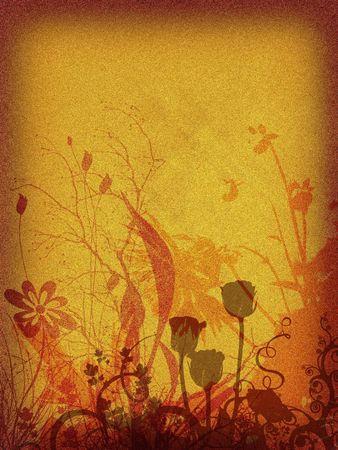 Background floral, rusty, retro mode