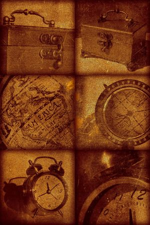 Vintage artistical stylish background, grainy texture. Retro objects