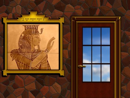Interior sketch, ancient Egyptian picture on the wall photo