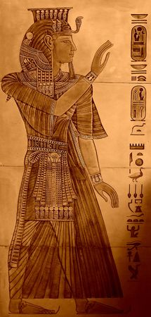 Egyptian drawings imitation (ceramics) - interior details, aged version