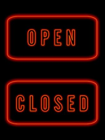 closed club: Neon signs Stock Photo