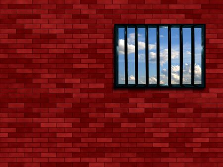 poky: Latticed prison window, clear sky beyond Stock Photo
