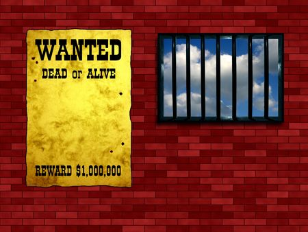 Latticed prison window, clear sky beyond. Vintage Wanted poster on the wall photo