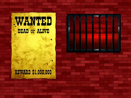 limbo: Latticed prison window, sunset beyond. Vintage Wanted poster on the wall