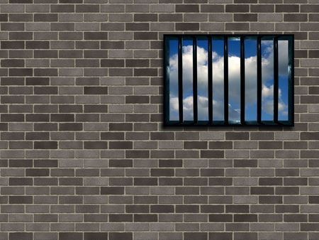Latticed prison window, clear sky beyond photo