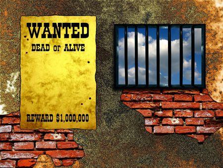 Latticed prison window, clear sky beyond. Vintage