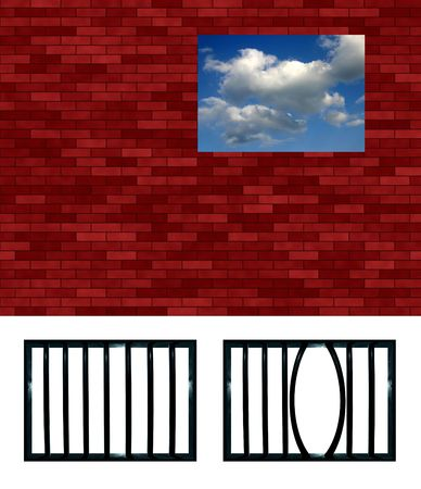 latticed: Latticed prison window pattern. Choose your grating, crop and put in the hole