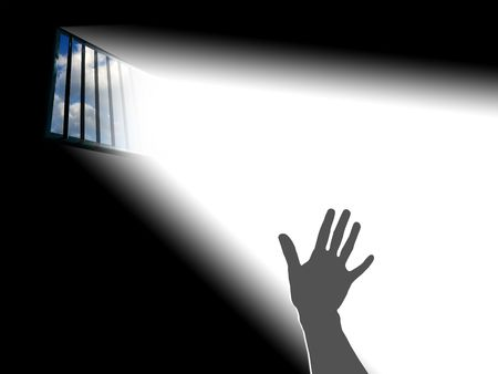 Reaching the sky.. Light through the latticed prison window Stock Photo