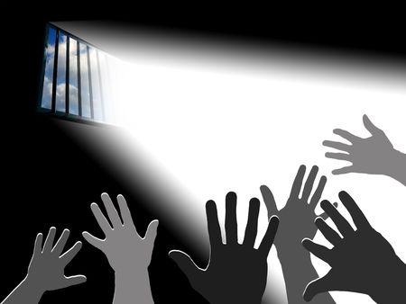 imprisonment: Reaching the sky.. Light through the latticed prison window Stock Photo