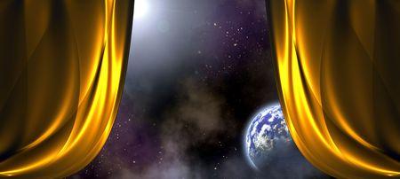 planetarnych: Wide Open kurtyna wzór z miejsca tle Zdjęcie Seryjne