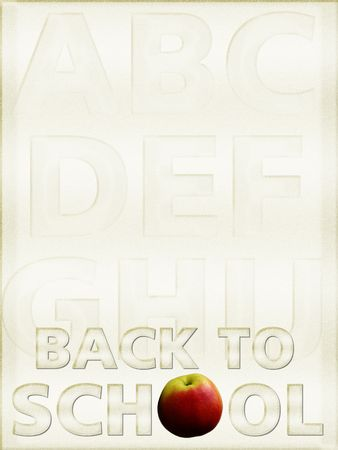 discipleship: Back to School background, parchment, with alphabet Stock Photo