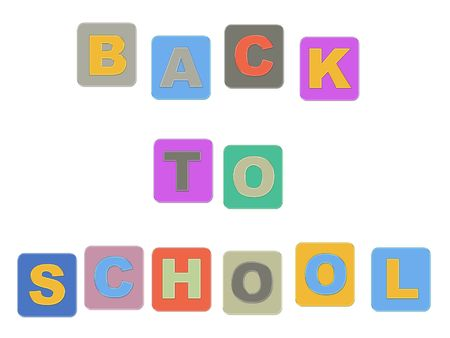 schoolmaster: Back to School colorful text, isolated Stock Photo
