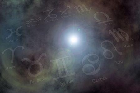 Le zodiaque signe le fond Banque d'images