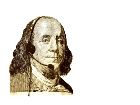 Conceptual businesscustomer service. The head of USA 100 dollars bill- president Franklin, with headset. Isolated