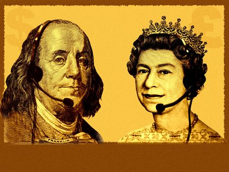 Conceptual International businesscustomer service. England Queen from 20 pounds banknote and USA President Franklin from 100 dollars banknote are talking, with headsets. A bit grainy