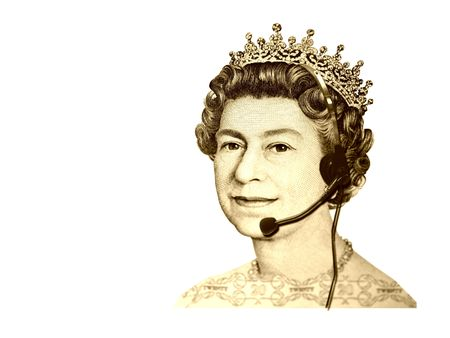 Conceptual businesscustomer service. The head of England currency- Queen, with headset. Isolated
