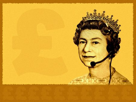 Conceptual businesscustomer service. The head of England currency- Queen, with headset. A bit grainy