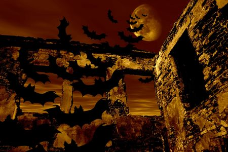 Happy Halloween. Bats are flying over the old ruin. Dramatic toned Stock Photo - 512101