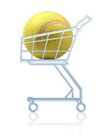 Sports shopping. Tennis ball in a shopping cart. Isolated Stock Photo