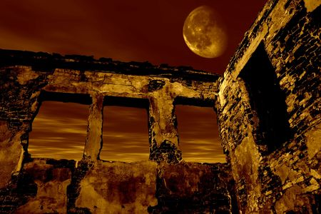 Old ruin in the moonlight. Dramatic toned Stock Photo - 512095