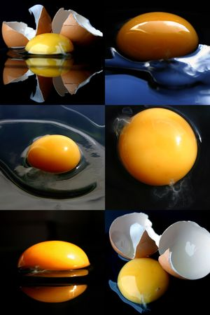 Broken eggs collage Stock Photo