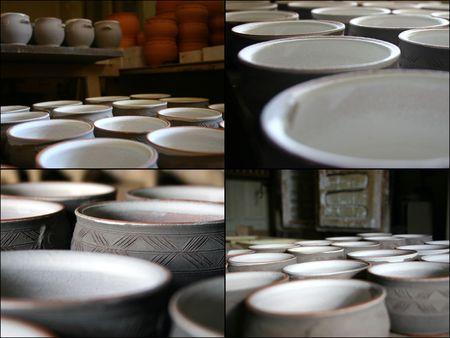 ceramicist: In the studio of the potter- collage Stock Photo