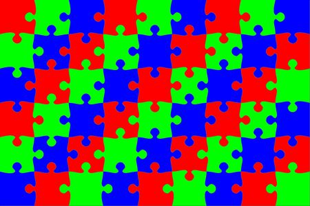 Puzzle background. Pieces colored in three RGB colors. See optical illusion- heave photo