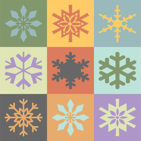 Snowflakes in vintage colors scheme (vector) Illustration