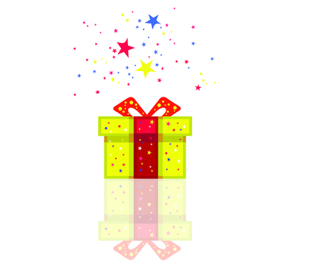 Color holiday present with stars around. Vector format Illustration