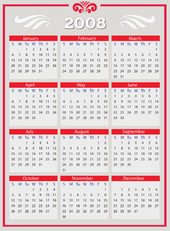 2008 Year calendar, vertical. Vector Illustration