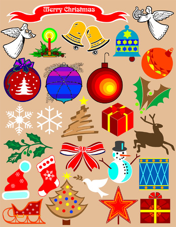 Christmas stuff. A needful clipart for your holiday projects Illustration