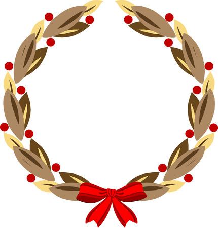 laurel leaf: Decorative round wreath with ribbon