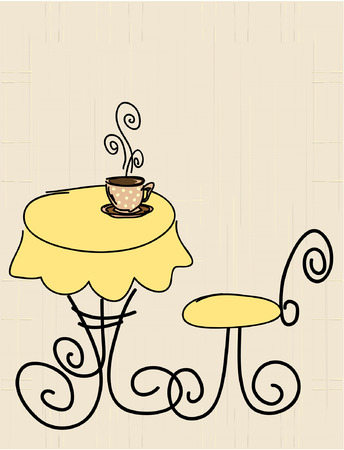 Vector stylized table, chair and a cup of coffee or tea