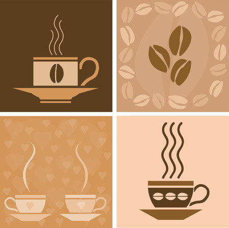 Vector coffee related square illustration Illustration