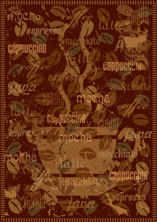 Vector coffee background with various sorts of coffee. Grunge version Illustration