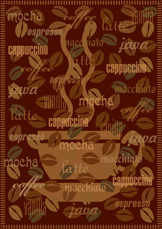Vector coffee background with various sorts and names of coffee Illustration