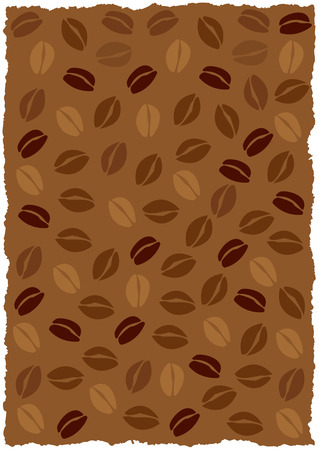Vector coffee beans background, torned edges